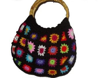 Crochet Bag * Multicolor FloWers * with bamboo holder,  Granny Square Flower Power Bag,