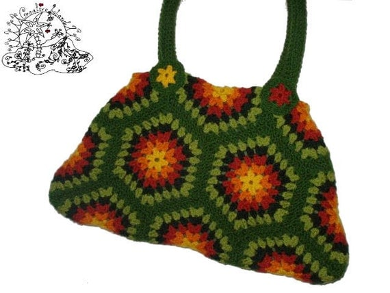 BIG SHOPPER HeXagon Crochet Bag Granny Square by creativeisland