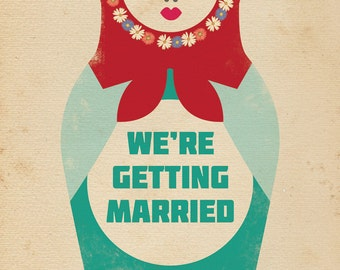 Russian Doll Themed Vintage Retro Style Wedding Invitation invite