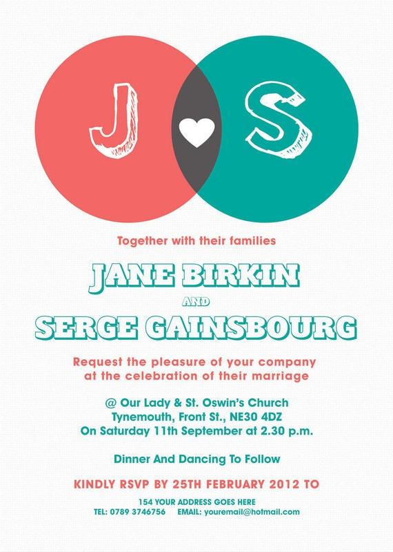 Venn Diagram Themed Modern Wedding Invitation invite