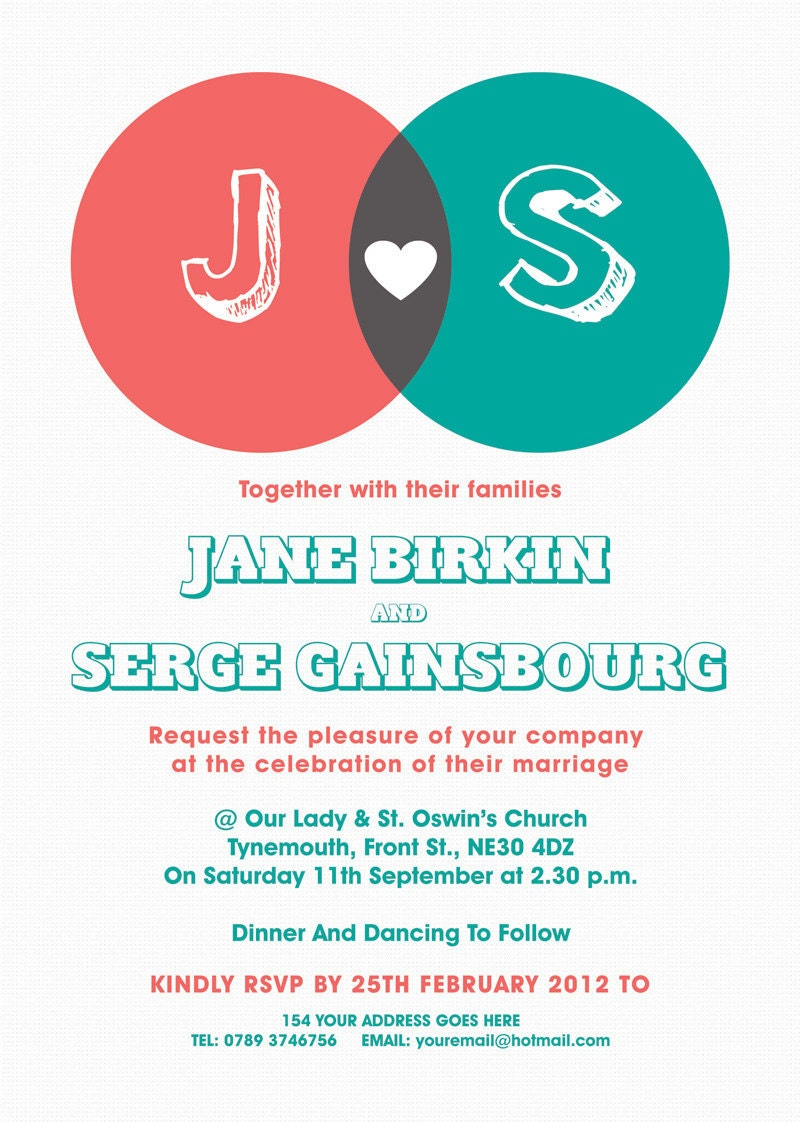 Venn Diagram Themed Modern Wedding Invitation invite