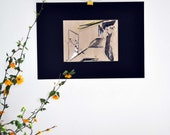 Art Abstract original drawing /mixed media / pencil / pastel / ink / paint / Landscape/ Modern / Architectural / yellow / black / blue
