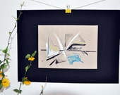 Plain 4 / Art Abstract original drawing / mixed / pencil / pastel / ink / paint / Landscape/ Modern / Architectural / yellow / black / blue