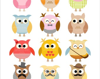 12 Owls Digital clip art for Personal and Commercial use - INSTANT DOWNLOAD