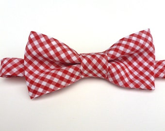 Boys Bow Tie- Red and White Gingham - Sizes newborn-adult