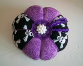 Purple Damask and Skull & Crossbones Pin Cushion