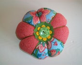 Blue and Orange Floral Pin Cushion