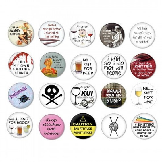 items similar to knitting pinback button badges wholesale. Black Bedroom Furniture Sets. Home Design Ideas