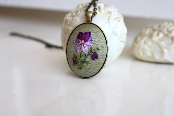 Silk Ribbon Embroidery Pansy on Green Silk Dupioni Pendant Necklace