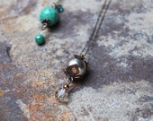Antiqued Grey Swarovski Pearl and Crystal Pendant on Delicate Silver Chain