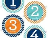 Modern Baby Boy Monthly Onesie Stickers Set Orange
