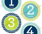 Modern Baby Boy Monthly Onesie Stickers Set Lime