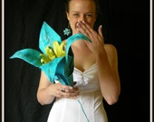 Alternative-bouquet: Oversize Bridal Flower in cyan and lawn green- instead of bouquet, and Groom Boutonniere in lawn green, free shipping