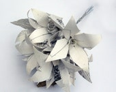 Simple white bridal bouquet from upcycle paper in origami  technique, alternative-bouquets
