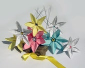 New Baby congratulations flowers ,origami paper flowers- in rose,blue,yellow and white color