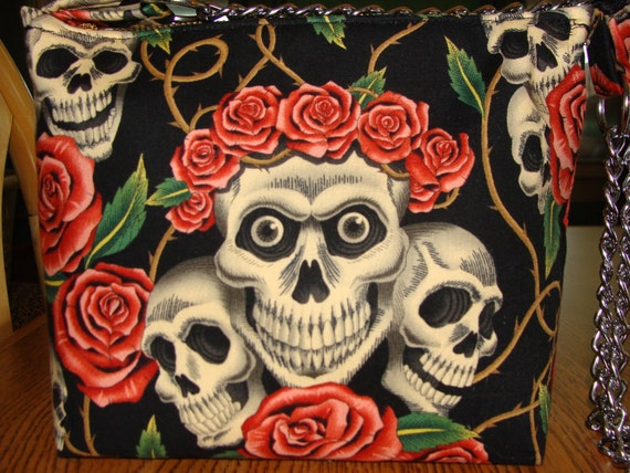 Tattoo Rose Skull Purse (Alexander Henry fabric) Day of the Dead - On Sale
