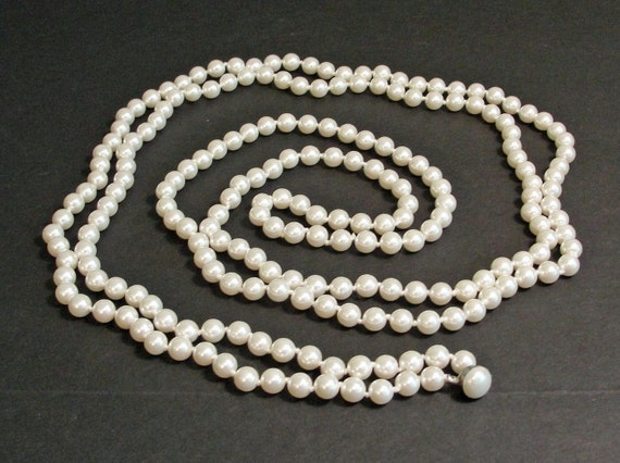 SALE 60s Super Long Pearl Necklace - Vintage Hand Knotted Tied - Gift Wedding Fashion