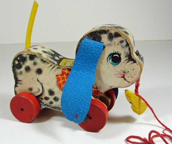 Vintage Fisher Price Wood Dog Pull Toy - 60s Playful Puppy No. 626 Yellow Shoe - Red White Blue Kids Toys