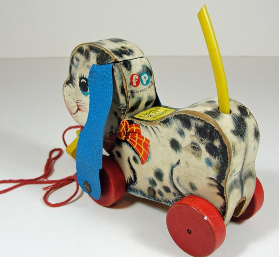 Vintage Fisher Price Wood Dog Pull Toy 60s By Retrofitstyle