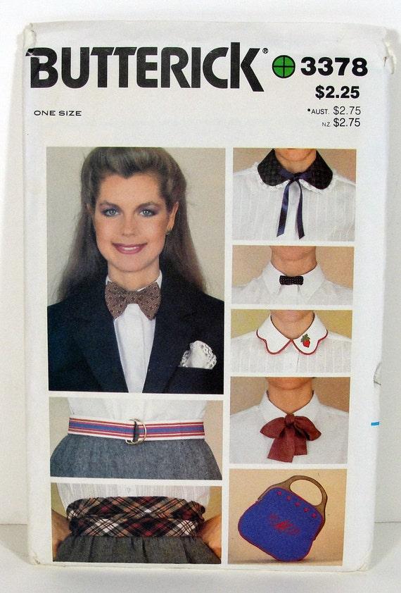 80s Accessories Sewing Patterns Package - Ties Collars Belt Handbag Cummerbund Hanky - Retro Fashion