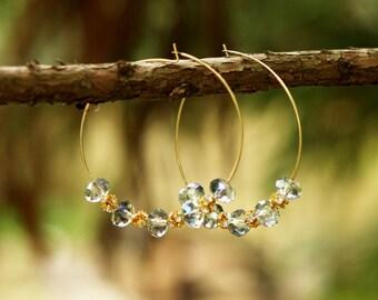 Gray Swarovski Hoop Earrings