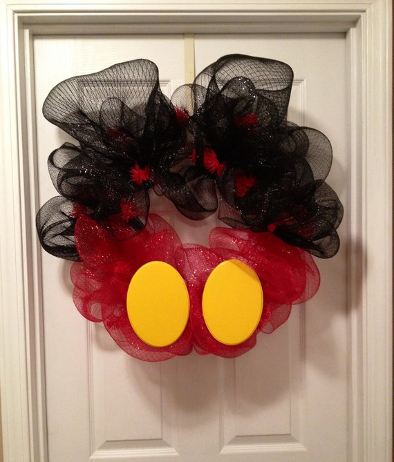 Mickey Mouse Deco Mesh Wreath By Thezebrasstripe On Etsy