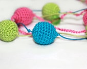 Pink- Green and Turquoise Crochet Necklace / Nursing /Teething necklace/Breastfeeding Necklace for mom and baby