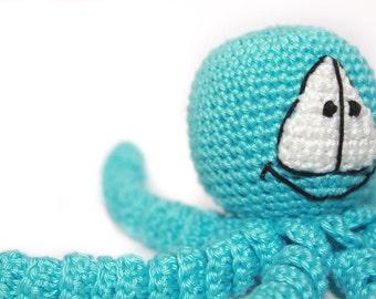 Crochet Turquoise Octopus - Bright Crochet Octopus - Amigurumi Toy