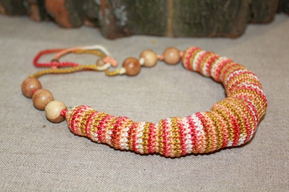 Nursing teething necklace Autumn colour crochet necklace Free shipping