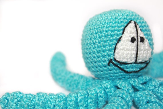 Crochet Turquoise Octopus - Bright Crochet Octopus - Amigurumi Toy