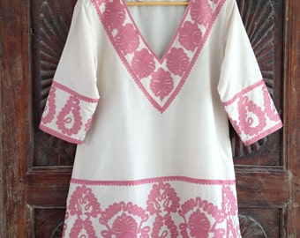 Embroidered caftan top pastel kurti short tunic