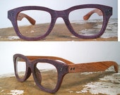 handmade wooden and puce acetate glasses / wood and textured acetate Wayfarer-style eyeglasses