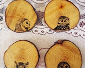 Four Wooden Owl Head Coasters