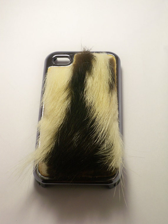 Fur Iphone 4/4s Case Skunk Fur(Double Stripe)