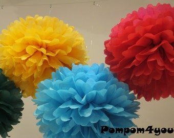 3 x 12 Tissue Paper Pom Poms and 5 FREE MINI Pom poms - Bulk buy & Save Money