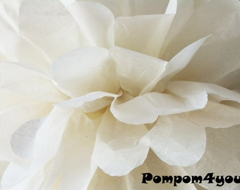One White Tissue paper Pom Poms // Wedding Decorations // Party Decorations // Pom Poms