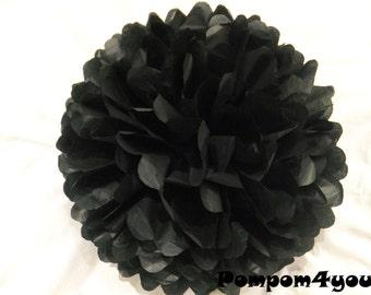 One Black Tissue paper Pom Pom // Wedding Decorations // Party Decorations // Pom Poms