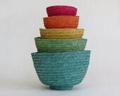 Set of Five Vintage Multi-Colored Nesting Baskets, Blue, Pink, Orange, Yellow, Green/Home Decor/Organization