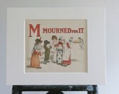 Antique Illustration By Kate Greenway c.1907, Childs Picture, Letter M Print, Vintage Print, Mourned Print, Red