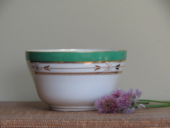 Vintage Handpainted White and Green China Bowl With Gold Trim