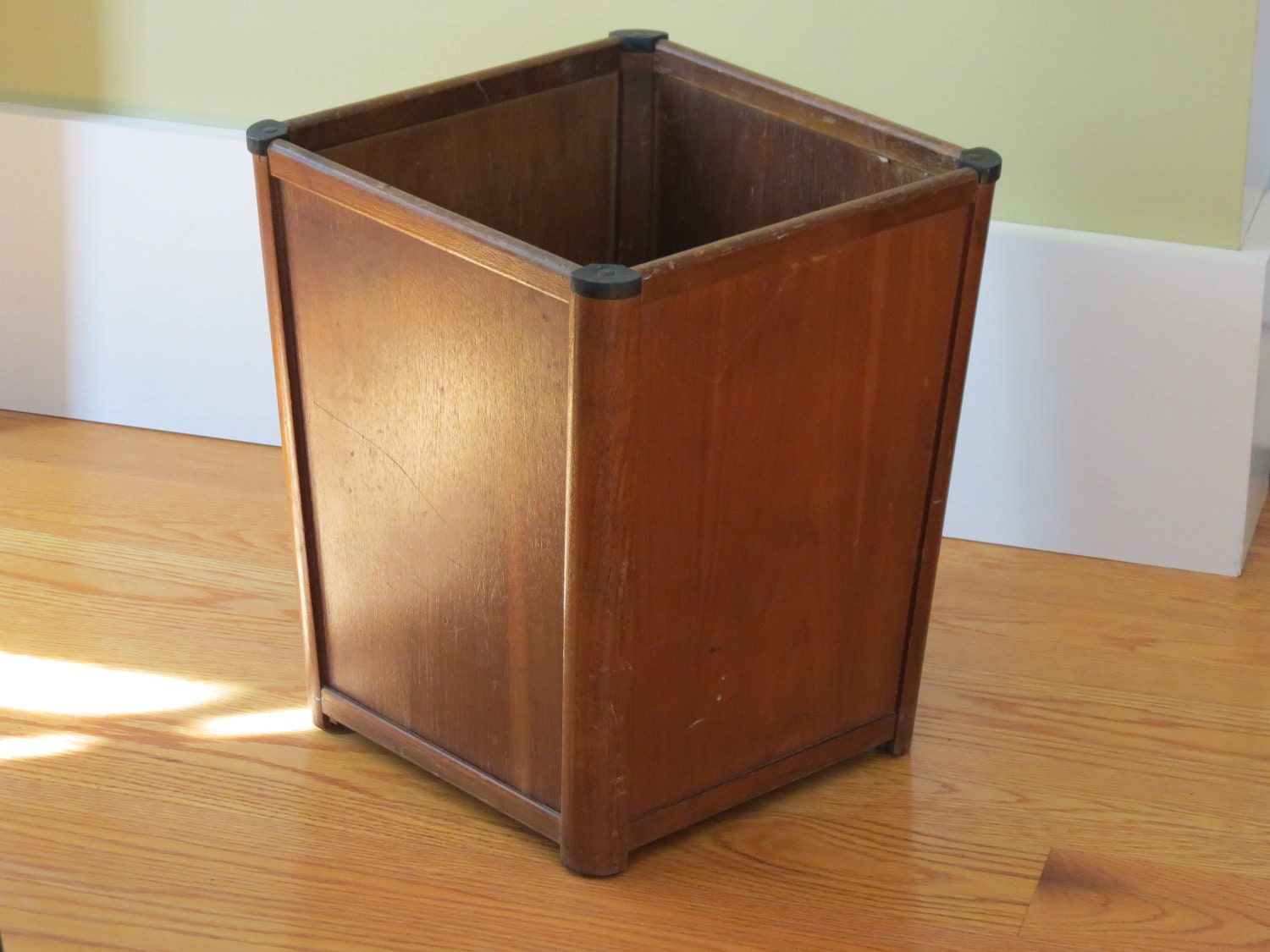 Vintage Wooden Garbage Can Planter Storage Office