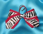 Cheer bow keychain, burgundy white and zebra keychain, zipper pull, bag marker
