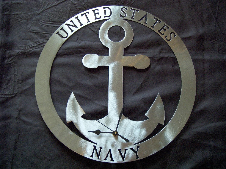 Us Navy Emblem Us navy logo metal art clock