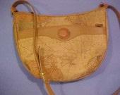 Vintage, large World Map Purse, 4 zipper compartments, long shoulder strap, golden, beige, tan, travel, vacations, fashion