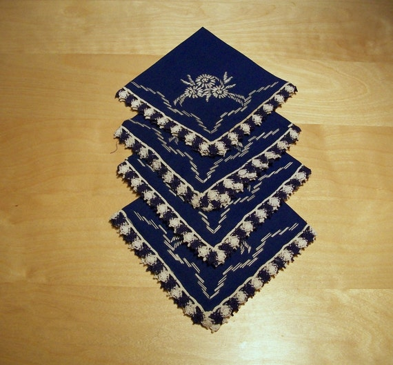 Vintage mexican blue embroidered napkins