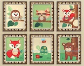 FOREST FRIENDS Print Set of 6 Woodland Animals Nursery Baby Children Kids Wall Decor Art Fox Owl Bear Racoon Squirrel Turtle
