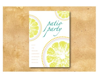 Summer Party Invitation  - Patio Party  - Printable DIY - Custom Color and Font