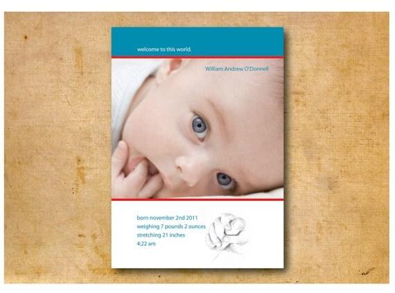 Baby/Birth Announcement  - Custom Color, Font, Photo - Printable DIY