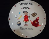 Mothers Day Personalized Hand Painted Plate - Just Add Mom's Name -