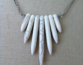 White Bone Howlite Turquoise Column Needle Spike Recycled Metal Tribal Necklace